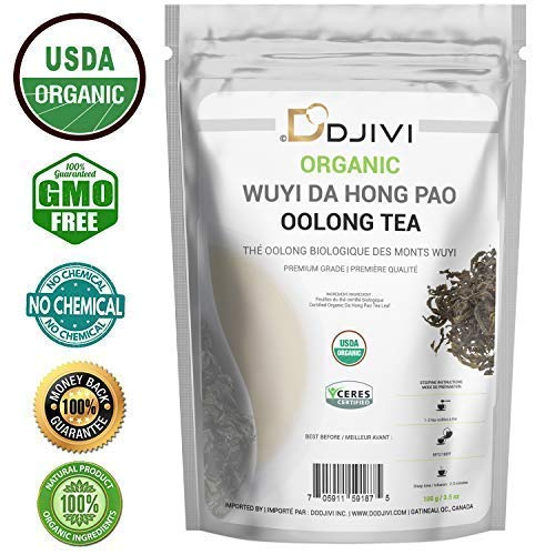 Dodjivi Oolong Tea Organic Loose Leaf - Bulk Wuyi Mountain Da Hong Pao Tea - Big Red Robe Wu Long Tea -100g -