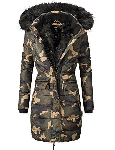 Navahoo Paula Long Ladies?? Winter Puffer Coat with Faux Fur 11 Colors XS-XXL Camouflage
