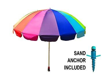 Gigante 8 Rainbow Playa paraguas, con protección UV, incluye gran ...