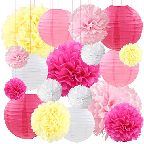 Pink Tissue Paper Lanterns Flowers Pom Poms Decorative Wedding Birthday Bridal Baby Shower Party Hanging Decorations, 18ct