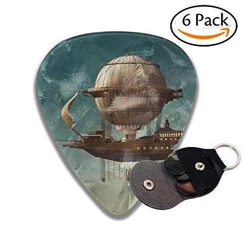 TanJieis Guitar Picks Best Gift For Guitarist Surreal Sky Scenery With Steampunk Airship Fairy Sci Fi Stardust Space 71mm For Men Women Kids ()