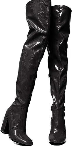 Vimisaoi Women's Fluorescent Thigh high Boots, High Chunky Heel Round Toe Glitter Dress Over The Knee Boots