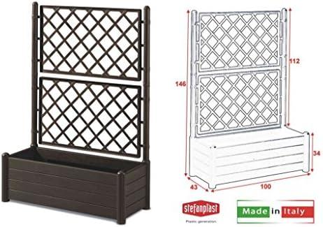 STEFANPLAST 96156-08 - Jardinera rectangular con respaldo, Marrón Oscuro, 80 lt: Amazon.es: Bricolaje y herramientas