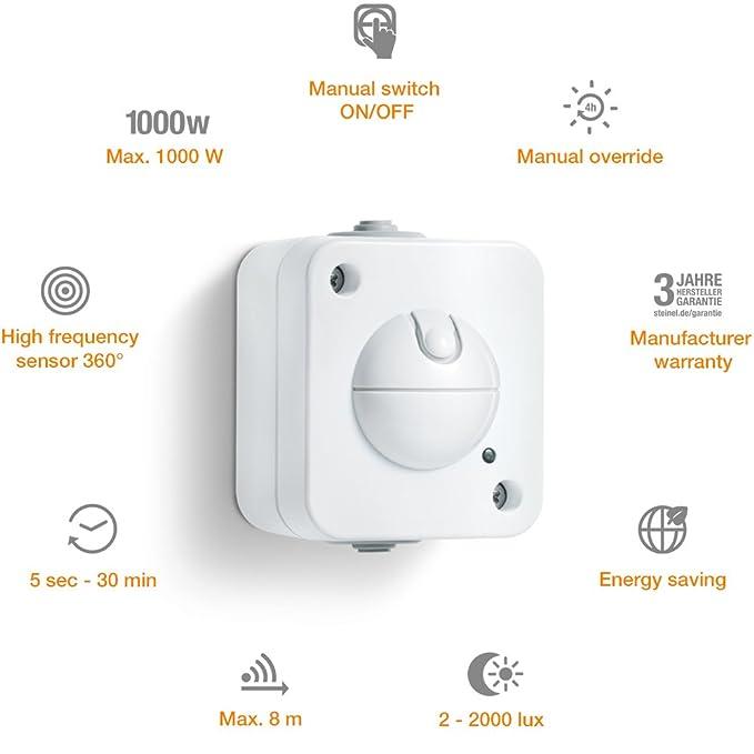Steinel 751111 Detector de movimiento HF 360 UP, Técnica de alta frecuencia, blanco, eficiente de la energía, toma empotrada, IP20, Clase de aislamiento II, ...