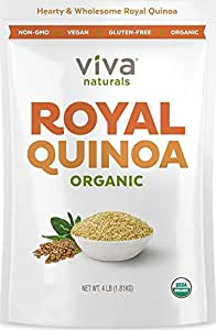 Viva Naturals - The FINEST Organic Quinoa, 100% Royal Bolivian Whole Grain, 4 LB Bag