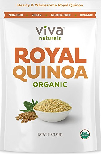 Viva Naturals   The Finest Organic Quinoa  100  Royal Bolivian Whole Grain  4 Lb Bag