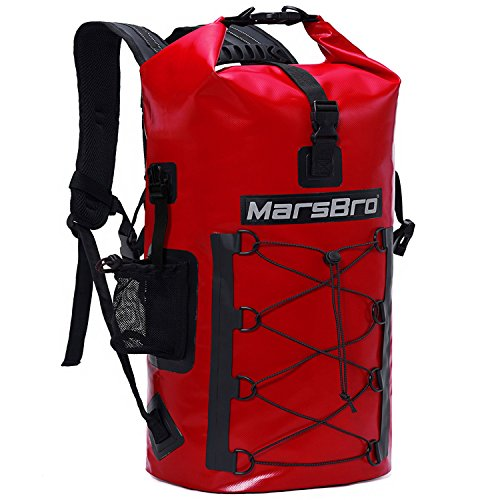 MarsBro Waterproof Backpack Dry Bag 1000D PVC 35L / 50L HF Welded Seams Roll-Top Closure for Kayaking, Canoeing, Floating, River Tracing, Sailing with Waterproof Phone Pouch Red 50L
