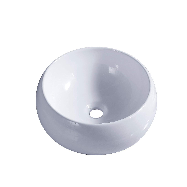 Nave da guardaroba per lavabo bagno in ceramica bianca da appoggio in porcellana ciotola rotonda free pop up rifiuti incluso 1life
