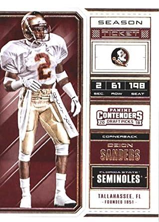 a6e05cb84 2018 Panini Contenders Draft Picks Season Ticket  30 Deion Sanders Florida  State Seminoles Football Card