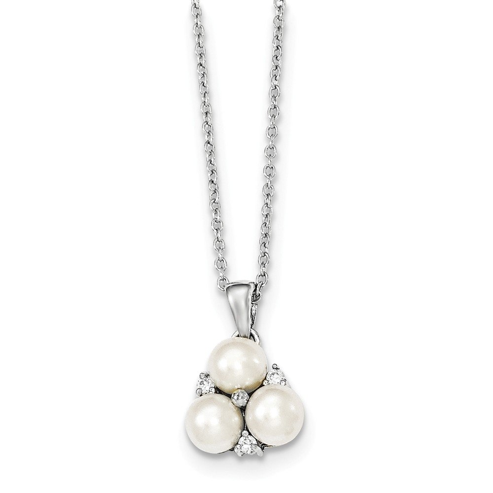 Top 10 Jewelry Gift Sterling Silver 5-6mm White FW Cultured 3-Pearl CZ Necklace