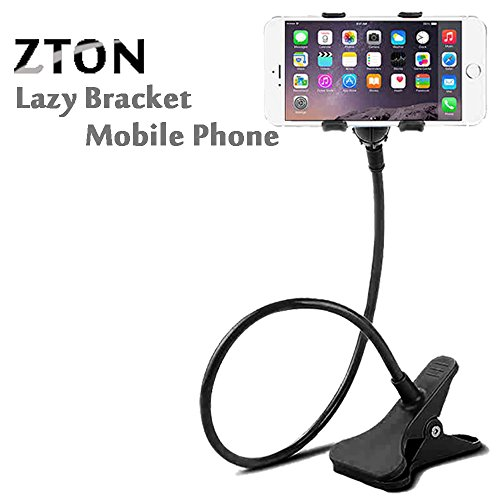 [ZTON Cell Phone Holder, Universal mobile Phone Stand, Lazy Bracket, Flexible Long Arms Clip mount for IPhone, Samsung Galaxy,etc.in office bedroom desktop (Black)] (Mobile Office Vehicle)