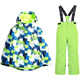 Boy's Ski Jacket and Pants Snow Insulated Suit Windproof & Waterproof (Apple Green, 4)