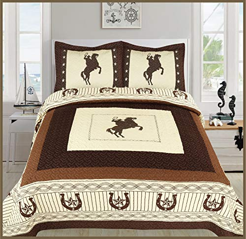 (Elegant Home Western Texas Star Stars Horse Horses Riding Cowboy Design 3 Piece Coverlet Bedspread Quilt # Cowboy (Beige, Full/Queen)