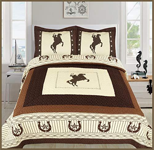 - Elegant Home Western Texas Star Stars Horse Horses Riding Cowboy Design 3 Piece Coverlet Bedspread Quilt # Cowboy (Beige, Full/Queen Size)