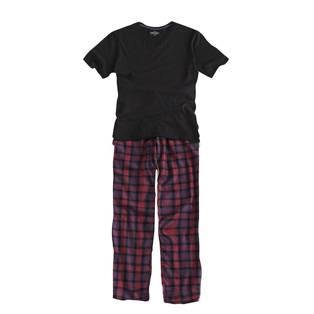 Yiwa Men Full Cotton Home Wear Set Short Sleeve + Grid Long Pants Pajama Set Gift Black Top + Trousers XL