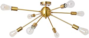 PUMING Sputnik Chandeliers 8 Lights Modern Pendant Lighting Industrial Vintage Ceiling Light Fixture for Living Room Bedroom Kitchen Bathroom Indoor Home Decoration, Gold