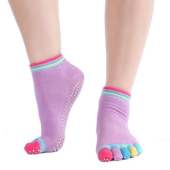 Leisial Calcetines de Yoga con Algodón Puro Calcetines de Cinco ...