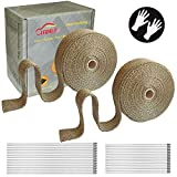 """LEDAUT 2 Roll 2"""" x 50' Titanium Exhaust Heat Wrap Roll for Motorcycle Fiberglass Heat Shield Tape with Stainless Ties"""