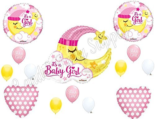 BABY GIRL MOON shower Balloons Decoration Supplies Nursery Rhyme Diddle Stars