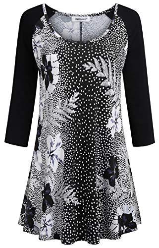 Helloacc Blouse Elegant Work Casual Long Sleeve Fashion Sweatshirts for Teen Girls School Cute Black Dressy Tops for Women for Evening Plus Size Floral Boho Tunic Printed Tshirts Fall White 1X
