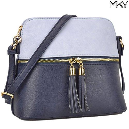 Bag Capacity Shoulder Purse Tassel light Blue Large Blue Fashion 051 Ladies Leather PU Crossbody Medium Navy IX0Xgz