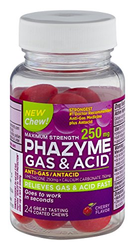 Phazyme Maximum Strength Gas & Acid Relief | Cherry | 250 mg | 24 Chews
