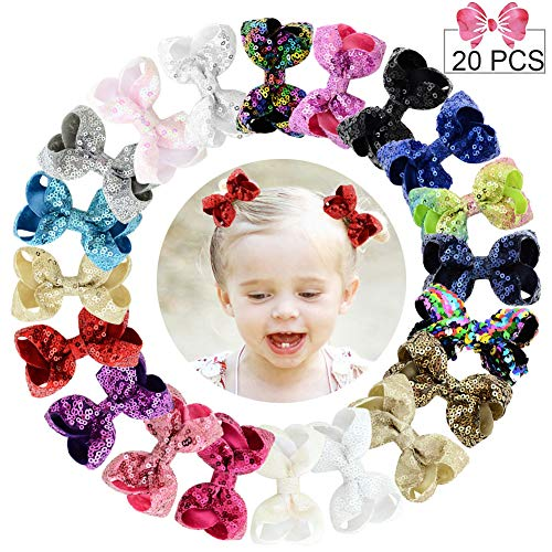 3 Sequins Hair Bows 20PCS Glitter Sparkly Boutique Alligator Clips for Girls Toddlers Teens Women