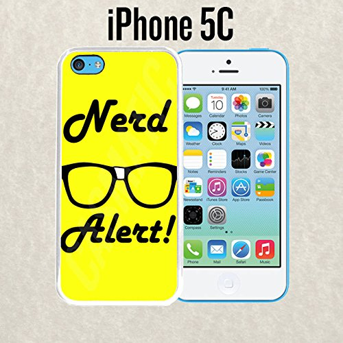 iPhone Case Nerd Alert Glasses for iPhone 5c Rubber White With Free .33 mm Premium Tempered Glass Screen - Glasses Free Nerd