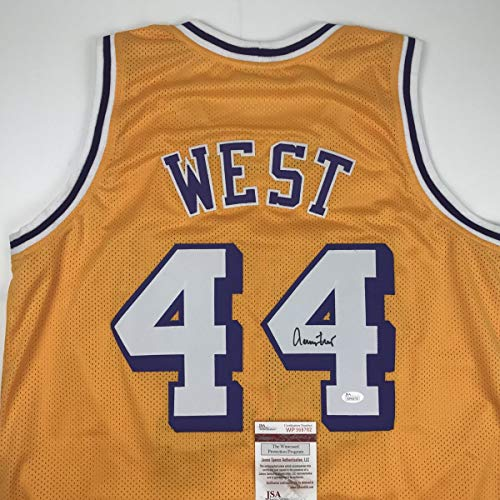 Autographed/Signed Jerry West Los Angeles LA Yellow Basketball Jersey JSA COA