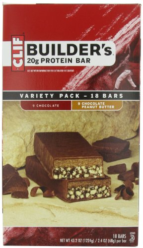 Clif Bar Builder's Bar, Variety Pack, 9 Chocolate and 9 Chocolate Peanut Butter, 2.4-Ounce Bars, 18 ()