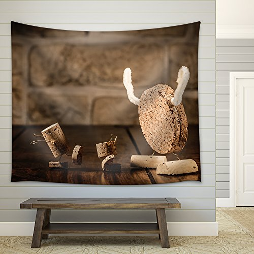 Concept Children and Monster Wine Cork Figures Fabric Wall Tapestry