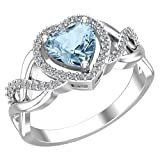Belinda Jewelz 925 Solid Real Sterling Silver Heart Shaped Gemstone Cubic Zirconia Diamond Prong Rhodium Engagement Wedding Classic Womens Fine Jewelry Twisted Band Ring, Blue Topaz, Size 8