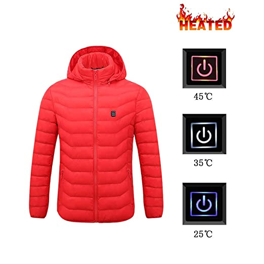 Heating Clothes Amazon Com >> Amazon Com Winter Warm Heating Jackets Men Smart Pure Color Hooded