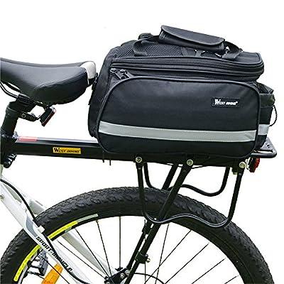 West Biking Black Multi-functional Bicycle Rear Seat Handbag Bag Panniers Rack Trunks