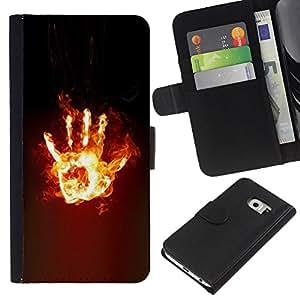 Planetar® Modelo colorido cuero carpeta tirón caso cubierta piel Holster Funda protección Para Samsung Galaxy S6 / SM-G920 EDGE ( Hand Stop Dark Fire Power )