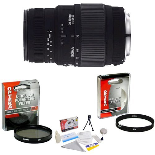 Sigma 70-300mm f/4-5.6 DG Macro Telephoto Zoom Lens for Sony Alpha SLR + Opteka UV Filter + Opteka CPL Filter + Opteka 5 Piece Cleaning Kit by Sigma