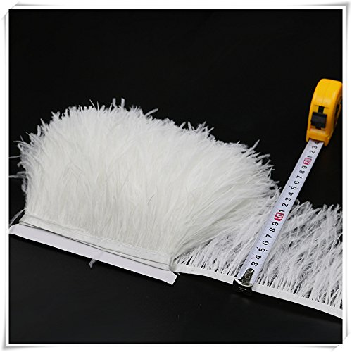 - Ostrich Feather Trims Fringes Sewn on Feather Tape 1 Yard (012-White)