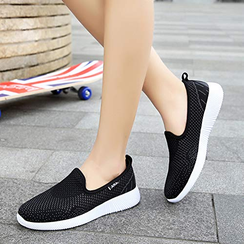 Zapatos Mujer Pink Classic Casual Sneaker Deportes Zapatillas Slip Malla Plataforma Ligeras Negro Respirable I46wnwqUfW
