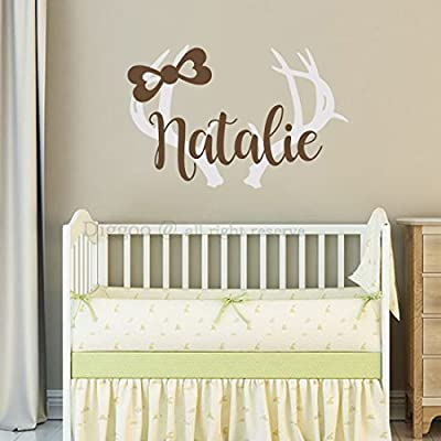 Personalized Girls Name Wall Sticker For Girls Hunting Themed Woodland Nursery Kids Decor - Girls Room Wall Decal