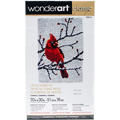 Wonderart Classics Cardinal Latch Hook Kit, 20