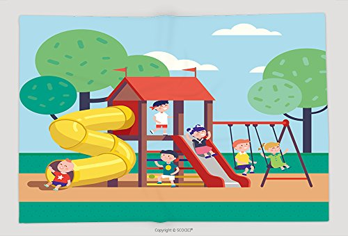 Supersoft Fleece Throw Blanket Group Of Kids Playing Game On A Town Public Park Playground With Swings, Slides, Tube And House. Happy Childhood. Modern Flat Style Vector Illustration Cartoon Clipart_6