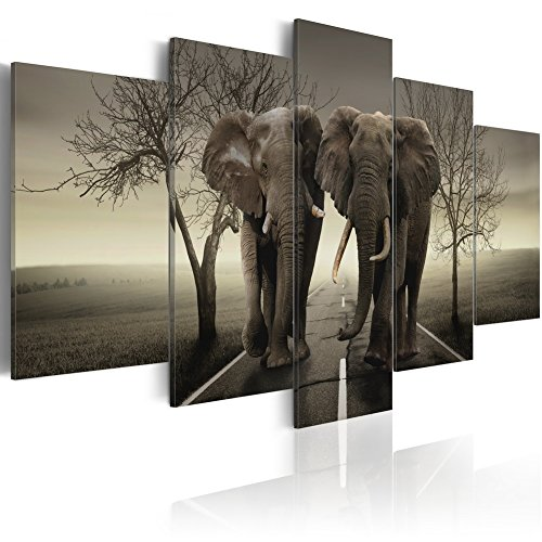 Konda Art Framed African Elephant Canvas Print Modern Wall Art Grey Painting Home Decor 5 Piece Animal Artwork for Bedroom Ready to Hang (It's a Wild World!, 40''x 20'') by Konda Art