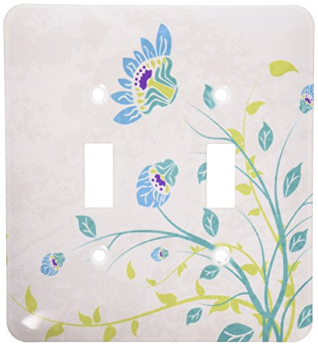 3dRose LLC lsp_119102_2 Lime Green Blue Turquoise and Purple Art Nouveau Style Flowers On Grunge Floral Decorative Nature Double Toggle Switch