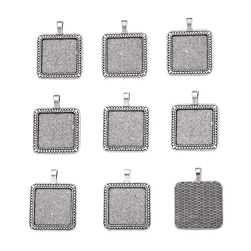 Kissitty 10-Piece Antique Silver Blank Bezel Cameo Tray Square Pendant Cabochon Settings 25x25mm Inner Diameter