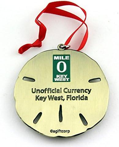 Souvenir Destiny Key West Florida Zero Mile Silver Sand Dollar Ornament