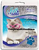 Soft Claws for Cats - Size Large - Color Blue Glitter