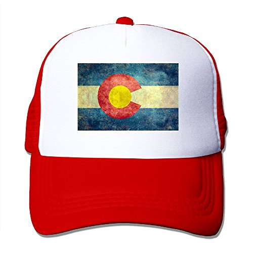 SHINENGST Colorado-State-Flag To-Tag Mesh Trucker Caps/Hats Adjustable For Unisex Red