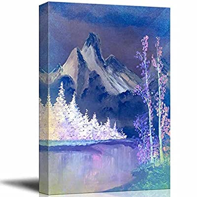 Delightful Handicraft, it is good, Beautiful Scenery of Mountain and Lake Nature Landscape at Night Oil Painting Reproduction