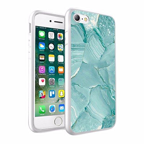 iPhone X Hülle, einzigartige Custom Design Prodective harte zurück dünner dünner Fit PC Bumper Case Kratzfeste Abdeckung für iPhone X White & Turquoise Blue- Marmor Design 061