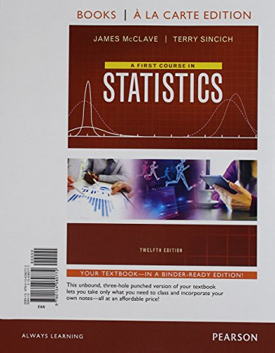 First Course in Statistics, A, Books a la Carte Edition Plus MyLab Statistics with Pearson eText -- Access Card Package (12th Edition)